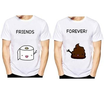 2018 best friends Forever Funny T Shirts O-Neck T shirt Men Toilet paper and shit summer Tops Tees Casual Men's T-shirt
