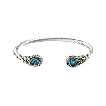 Beautiful Blue Aquamarine 14K Yellow Gold Sterling Silver Bracelet