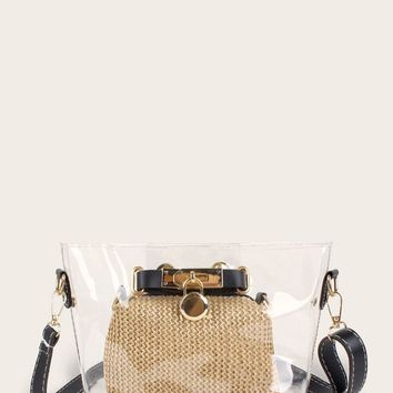 Clear Crossbody Bag With Woven Clutch 2Pcs