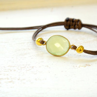 Green Chalcedony Adjustable Waxed Cord Friendship Bracelet or Anklet