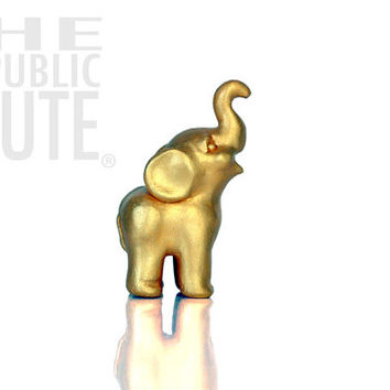 Miniature Gold Elephant Figurine