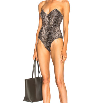 fleur du mal Strapless V Neck Swimsuit in Python | FWRD