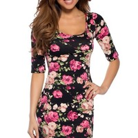 Forever Roses Cute Form Fitting Dress