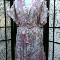 Vintage Short Dressing Gown Robe Cream Gold Pink Roses Small S by Escapades
