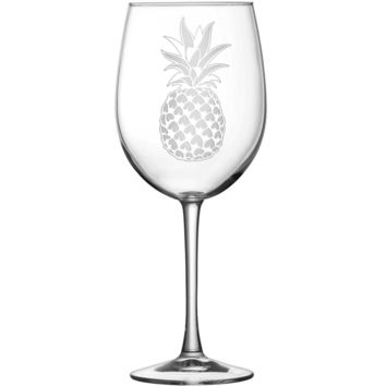 Tulip Wine Glass with Pineapple Design, Hand Etched