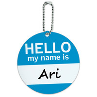 Ari Hello My Name Is Round ID Card Luggage Tag