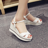 Design Summer Shoes Leather Stylish Wedge Sandals [4920290436]
