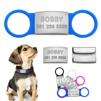 Stainless Steel Personalized Dog Cat ID Tag Customized Engraved Pet Nameplate Tags With Tensile Rubber For Pets Collar Leash