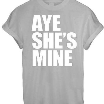 AYE HE#039;S SHE#039;S MINE MICKEY MOUSE HAND PRINTED t shirt Top Tee size XS S M L XL - GREY