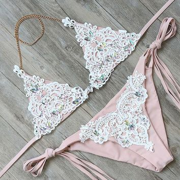 Bikini Set beach body RUUHEE Bikini Swimwear Women Swimsuit Sexy Diamond  2018 Bathing Suit String Female Beachwear Women's Swimming Suit