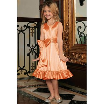 Orange Fit & Flare Summer Party Midi Princess Dress Flower Girl