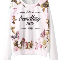 White Floral Print Fall Style Sweatshirt