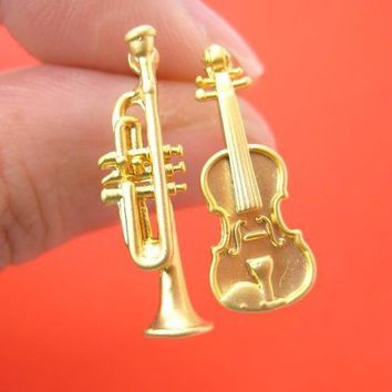 Musical Instrument Themed Violin and Trumpet Shaped Stud Earrings in Gold