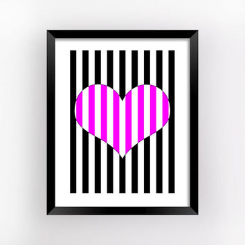Optical Art, Striped Hearts, Romantic Gift, Geometric Prints, Bedroom Wall Decor, Love Printable, Heart Print, Home Decor | MAGFEM ART #7