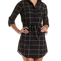 Windowpane-Checked Chiffon Shirt Dress - Black Combo