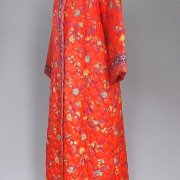 Vintage Retro 60s 70s Orange Floral Bed Jacket House Coat Long Robe Dressing Gown Size Medium Quilted Maxi Dress Lingerie Asian Ethnic Boho