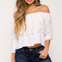 Crochet Flounce Off Shoulder Top