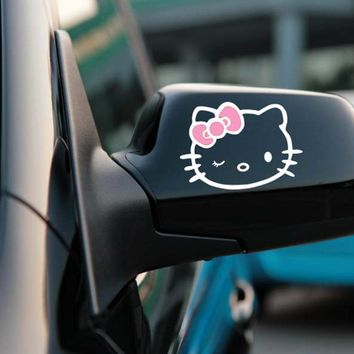 2 x Funny Hello Kitty Car Stickers Car Decal Rear View Mirror Decals  for Toyota Chevrolet  Volkswagen Honda Hyundai Kia Lada