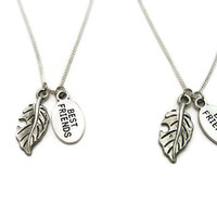 Best Friends Leaf Necklace Set Leaf Jewelry Nature Necklace Gardening Necklace Gardener Jewelry Plant Necklace Plant Jewelry Nature Lovers