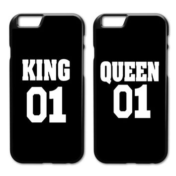King Queen 01 Brand Couple Case for iPhone 4 4s 5 5s SE 5c 6 6s 7 8 Plus X