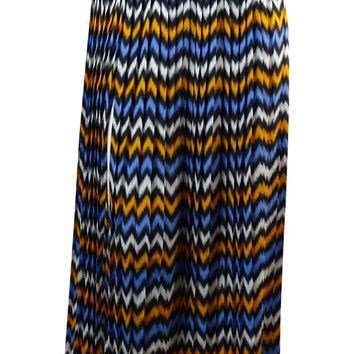 MICHAEL Michael Kors Women's Pleated Ikat Skirt (S, Vintage Yellow/Oxford Blue)