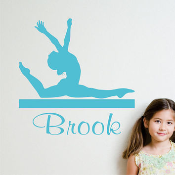 Personalized Silhouette Sports Decal Gymnastic Girl on a Beam Wall Art Decal