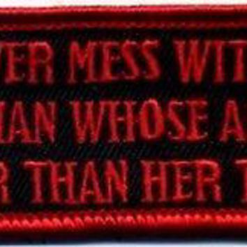 Never Mess With Women Who Aim Better Red Gun NRA Fun MC NEW Biker PATCH PAT-3631