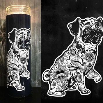 Pug, Pug Dog, Pug Gift, Pug Art, Dog Gift, Pugs, Tattoo Art, Flash Tattoo, Home Decor,  Scented  Candle, Prayer Candle, Gift Idea,