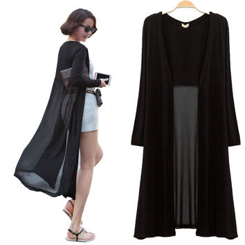 Maxi Cardigan Feminino 2015 Ankle Length Sweater Coat Women Knitted Long Sleeve Korean Vintage Black Oversized Sweaters Dress