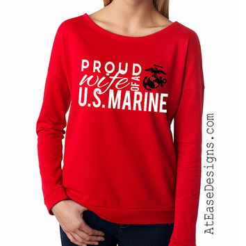 Military Pride terry long sleeve. Military mom sister shirt. MilSo At Ease Designs army navy marine corps usmc usaf air force wife