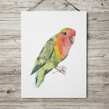 Lovebird poster Nursery watercolor Cute bird art print ACW166