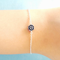 Belle, Rose, Bracelet, Simple, Rose Bracelet, Romantic, Rose, Beauty, And, The, Beast, Disney, Minimal, Bracelet, Dainty, Pendant, Bracelet