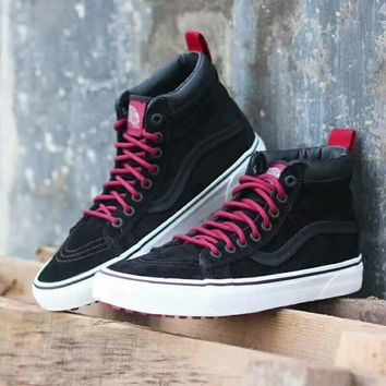 Vans Black Red Ankle Boots Old Skool Canvas Flat Sneakers Sport Shoes G-CSXY-3