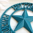Metal Welcome Sign / Country Decoration / Primitive Decor / Teal / Country Star Decor / Primitive Welcome Signs / Outdoor Welcome Sign /