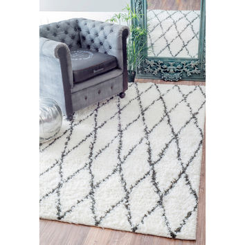 nuLOOM Handmade Soft and Plush Moroccan Trellis Wool Natural Shag Rug (8' x 10') | Overstock.com Shopping - The Best Deals on 7x9 - 10x14 Rugs