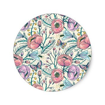 Chic Vintage Pink Rose Flower Classic Round Sticker