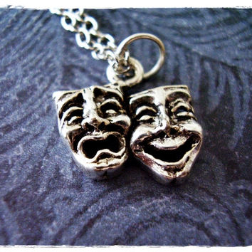 Silver Theatre Masks Necklace - Silver Pewter Theatre Masks Charm on a Delicate 18 Inch Silver Plated Cable Chain
