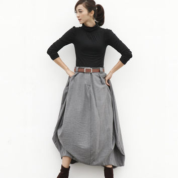 Maxi Skirt Lagenlook Woollen Skirt Sexy Bud Skirt Long Skirt in Grey - NC505
