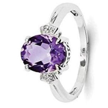 CERTIFIED 2.4 ctw 14kt White Gold Diamond Purple Amethyst Oval Band Ring