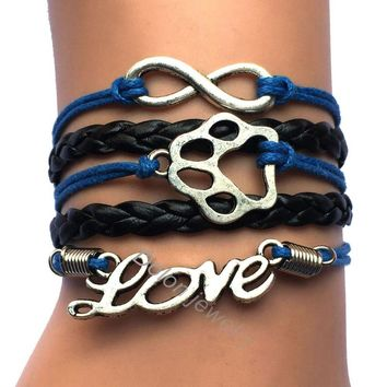 Handmade Infinity Love Dog or Cat Lover Puppy Paw Bracelets Gift for Bear Print Mens or Women Jewelry