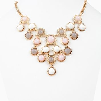 Pink Ivory Taupe Cascading Jewel Necklace/Earring Set