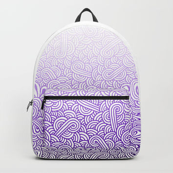 Gradient purple and white swirls doodles Backpack by Savousepate