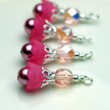 Lucite Flower Baby Bell Pink Bead Dangle Charm Drop Set