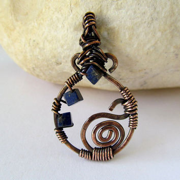 Copper Pendant, hammered, lapis lazuli cube stones, spiral, hand forged, wire wrap, oxidized