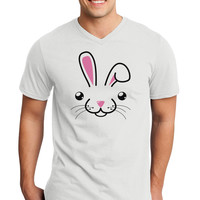 Cute Bunny Face Adult V-Neck T-shirt