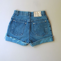 Vtg 90s High Waisted Cut Off Denim Jeans Shorts 6 Blue 25""