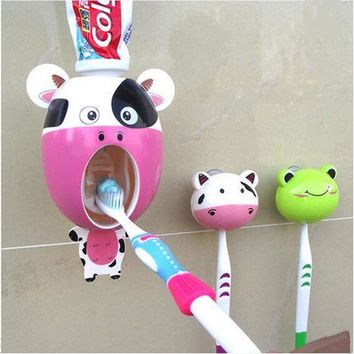 LMFUNT Interesting Bathroom Accessories sucker Cartoon Automatic Toothpaste dispenser Toothbrush holder suits Bathroom Products