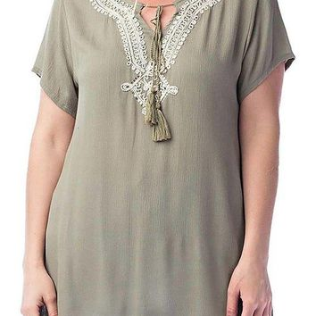 Lace Trim and Fringed Tie Detail Plus Size Tunic Blouse Top