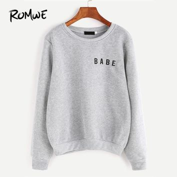 ROMWE Light Grey Letter Print Grey Sweatshirt Ladies 2018 Spring Autumn Winter Round Neck Long Sleeve Female Casual Hoodie