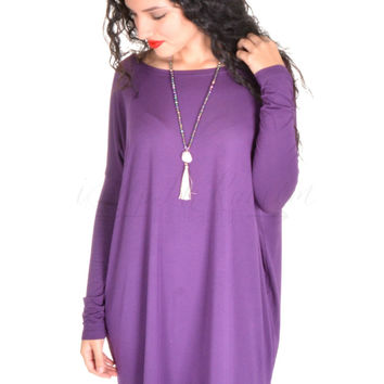 Long Sleeve Piko Tunic - Dark Purple